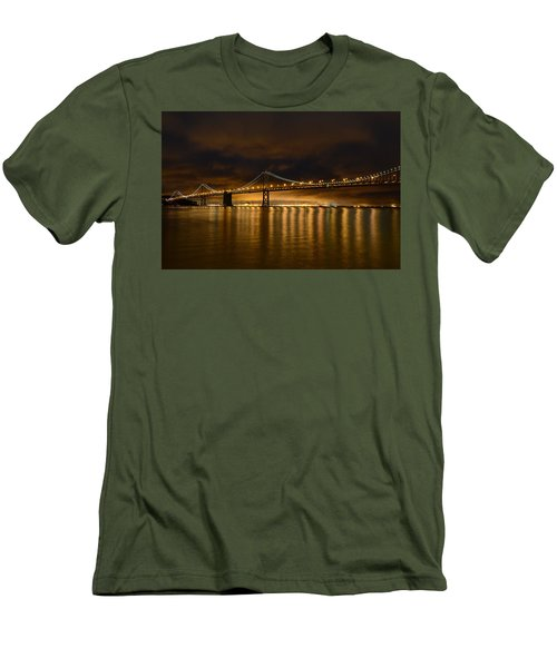 San Francisco - Bay Bridge At Night Men's T-Shirt (Athletic Fit)
