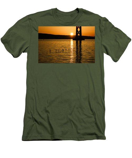Men's T-Shirt (Slim Fit) featuring the photograph San Francisco Bay Bridge Sunrise by Georgia Mizuleva