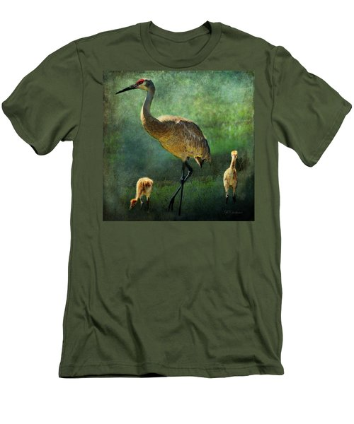 Sandhill And Chicks Men's T-Shirt (Slim Fit) by Barbara Chichester
