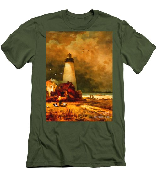 Sandy Hook Lighthouse - After Moran Men's T-Shirt (Athletic Fit)