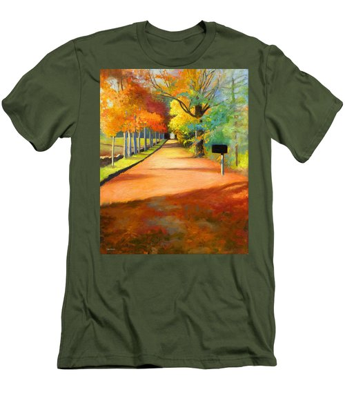 Sawmill Road Autumn Vermont Landscape Men's T-Shirt (Slim Fit) by Catherine Twomey