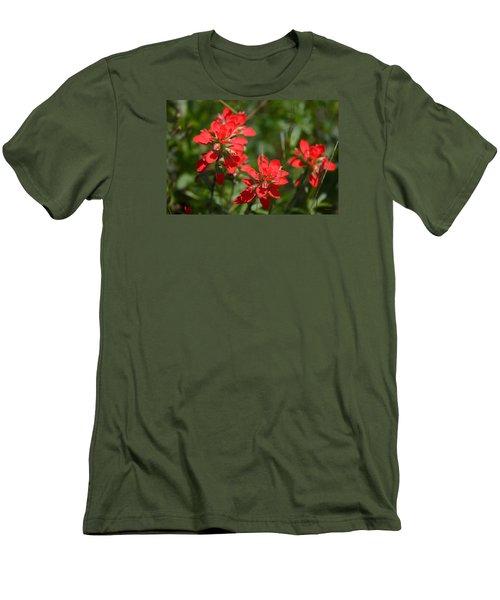 Scarlet Paintbrush. Texas Wildflowers. Castilleja_indivisa Men's T-Shirt (Slim Fit) by Connie Fox