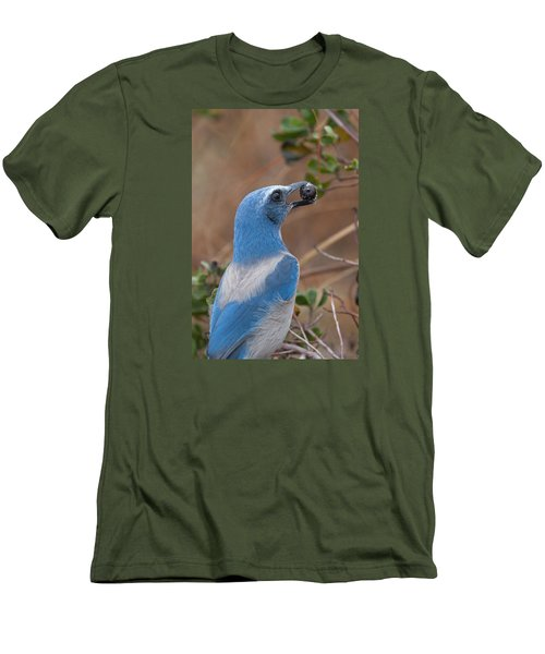 Men's T-Shirt (Slim Fit) featuring the photograph Scrub Jay With Acorn by Paul Rebmann