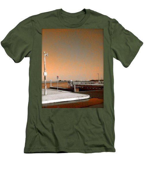 Men's T-Shirt (Slim Fit) featuring the photograph Sea Gulls Watching Over The Wetlands In Orange by Amazing Photographs AKA Christian Wilson