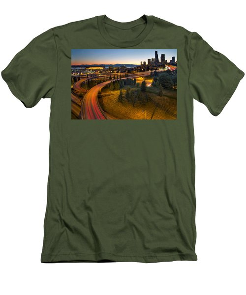 Men's T-Shirt (Slim Fit) featuring the photograph Seattle Downtown Highway Traffic Light Trails by JPLDesigns