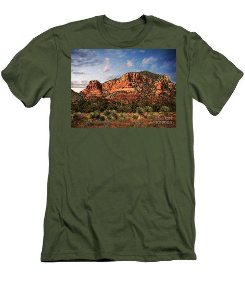 Men's T-Shirt (Slim Fit) featuring the photograph Sedona Vortex  And Yucca by Barbara Chichester