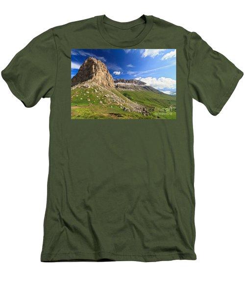 Men's T-Shirt (Slim Fit) featuring the photograph Sella Mountain And Pordoi Pass by Antonio Scarpi