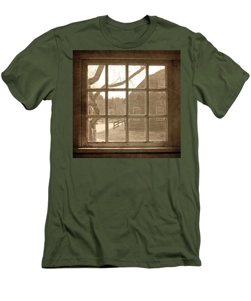 Sepia Colonial Scene Through Antique Window Men's T-Shirt (Slim Fit) by Brooke T Ryan