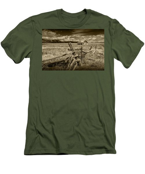Sepia Colored Photo Of A Wood Fence By The John Moulton Farm Men's T-Shirt (Slim Fit) by Randall Nyhof