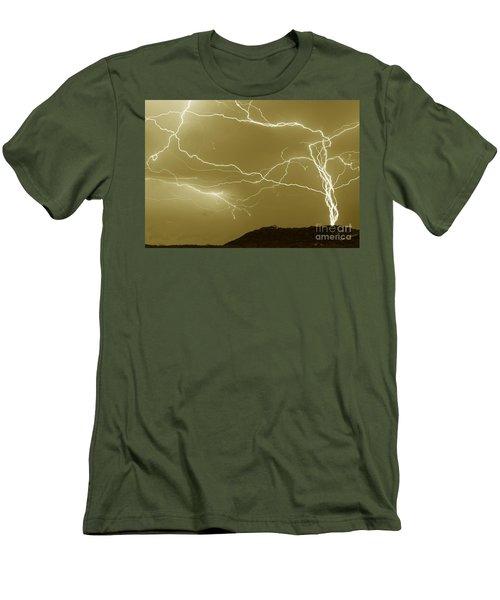 Sepia Converging Lightning Men's T-Shirt (Athletic Fit)