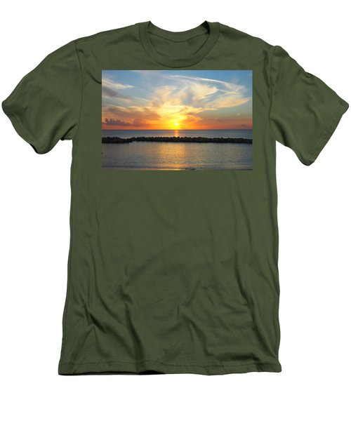 Seven Mile Sunset Over Grand Cayman Men's T-Shirt (Slim Fit) by Amy McDaniel