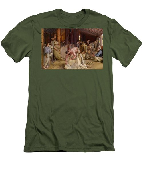 Shearing The Rams  Men's T-Shirt (Slim Fit) by Tom Roberts