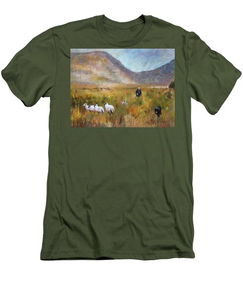 Men's T-Shirt (Slim Fit) featuring the drawing Shepherd And Sheep In The Valley  by Viola El
