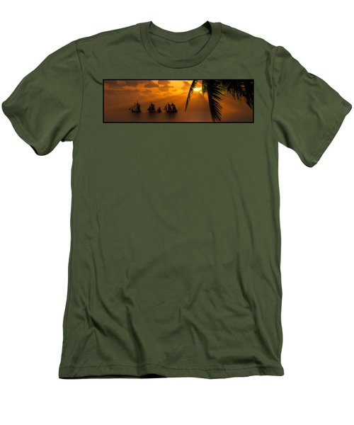 Ships And The Golden Dawn... Men's T-Shirt (Athletic Fit)