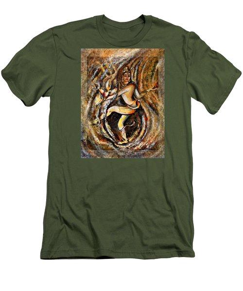 Men's T-Shirt (Slim Fit) featuring the painting Shiva Eternal Dance by Harsh Malik