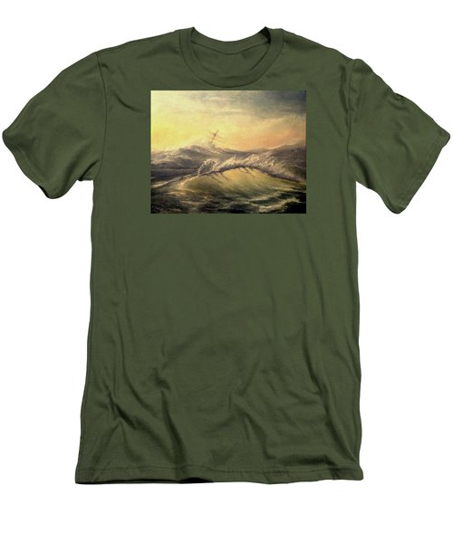 Men's T-Shirt (Slim Fit) featuring the painting Shivering Beauty Of Storm by Mikhail Savchenko