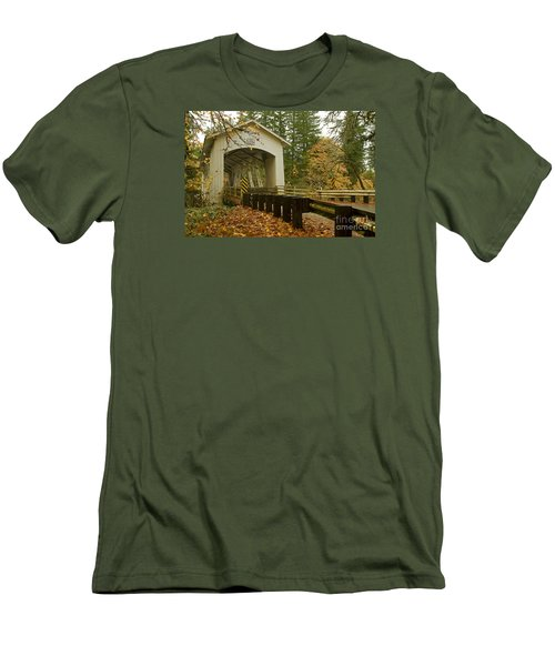 Short Covered Bridge Men's T-Shirt (Slim Fit) by Nick  Boren