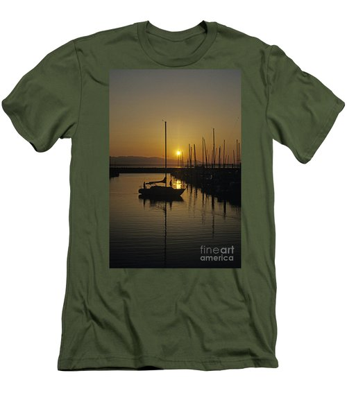 Silhouetted Man On Sailboat Men's T-Shirt (Athletic Fit)