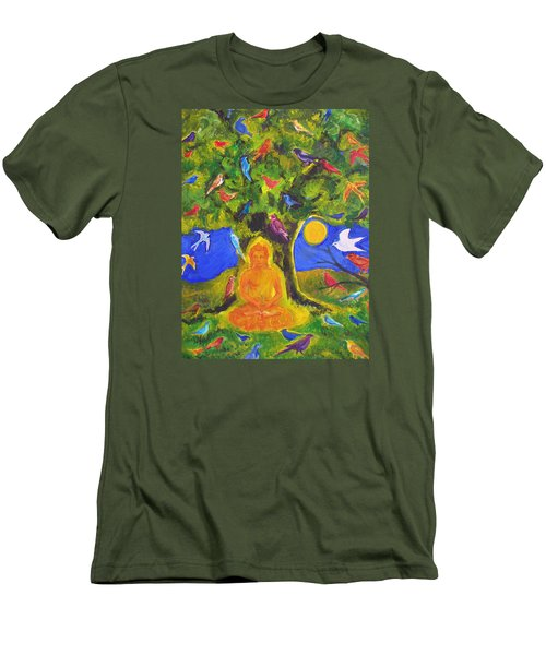 Buddha And The Birds Men's T-Shirt (Athletic Fit)