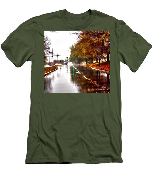 Men's T-Shirt (Slim Fit) featuring the photograph Slick Streets Rainy View by Lesa Fine