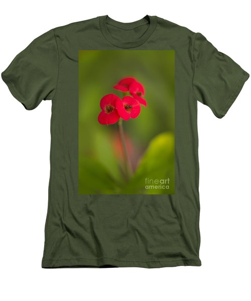 Small Red Flowers With Blurry Background Men's T-Shirt (Athletic Fit)