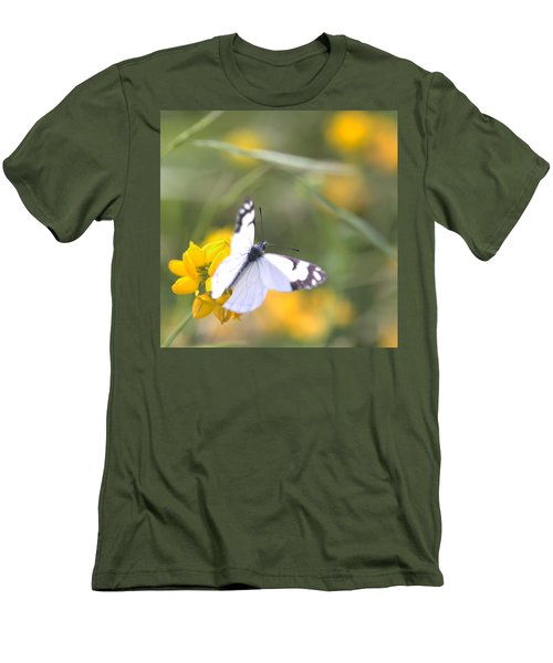 Men's T-Shirt (Slim Fit) featuring the photograph Small White Butterfly On Yellow Flower by Belinda Greb
