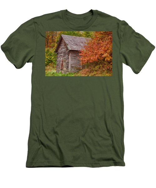 Men's T-Shirt (Slim Fit) featuring the photograph Small Wooden Shack In The Autumn Colors by Jeff Folger