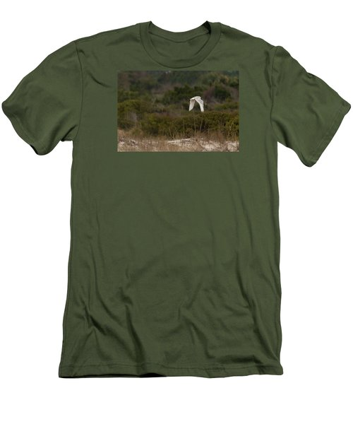 Men's T-Shirt (Slim Fit) featuring the photograph Snowy Owl Dune Flight by Paul Rebmann