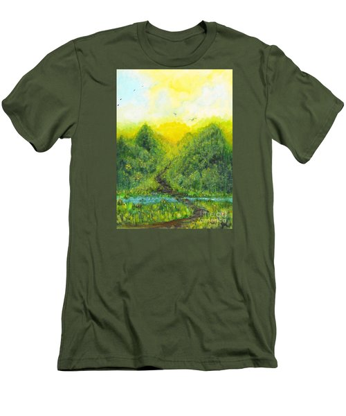 Men's T-Shirt (Slim Fit) featuring the painting Sonsoshone by Holly Carmichael