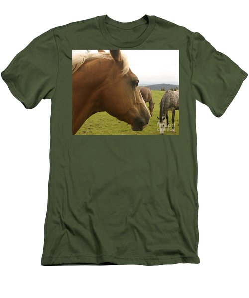 Men's T-Shirt (Slim Fit) featuring the photograph Sorrel Horse Profile by Belinda Greb