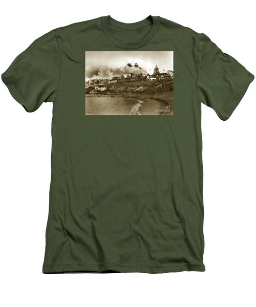 Southern Pacific Del Monte Passenger Train Pacific Grove Circa 1954 Men's T-Shirt (Slim Fit) by California Views Mr Pat Hathaway Archives