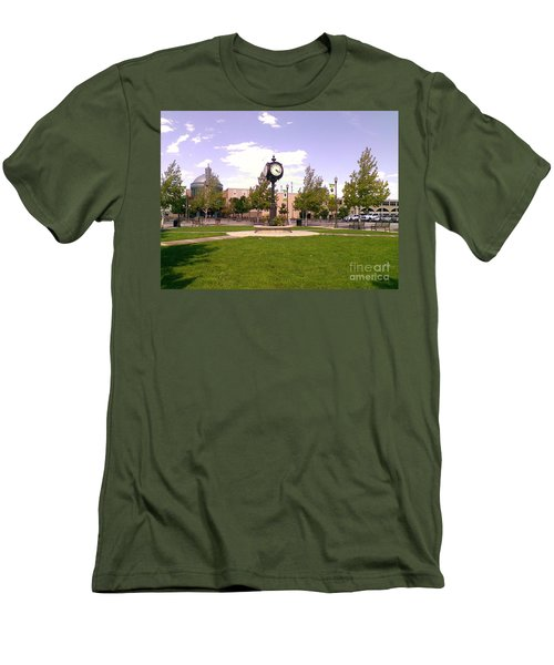 Men's T-Shirt (Slim Fit) featuring the photograph Sparks Community Clock by Bobbee Rickard