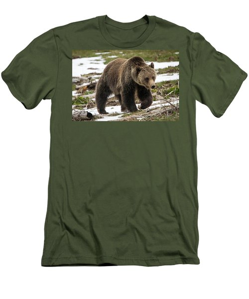 Men's T-Shirt (Slim Fit) featuring the photograph Spring Grizzly Bear by Jack Bell