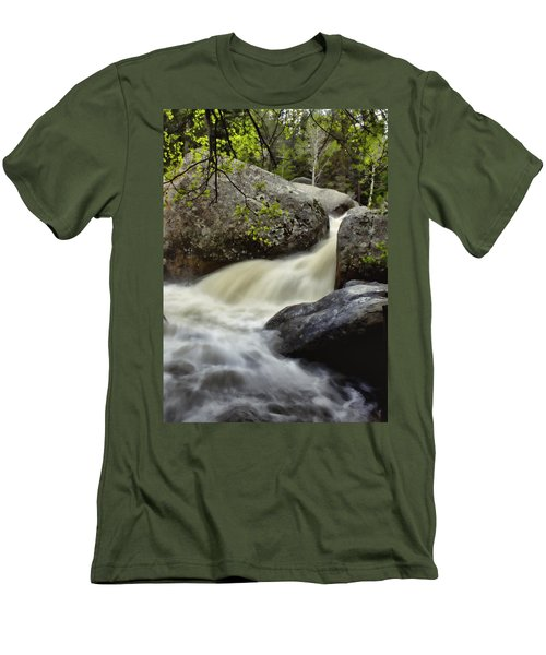 Men's T-Shirt (Slim Fit) featuring the photograph Spring Runoff by Ellen Heaverlo