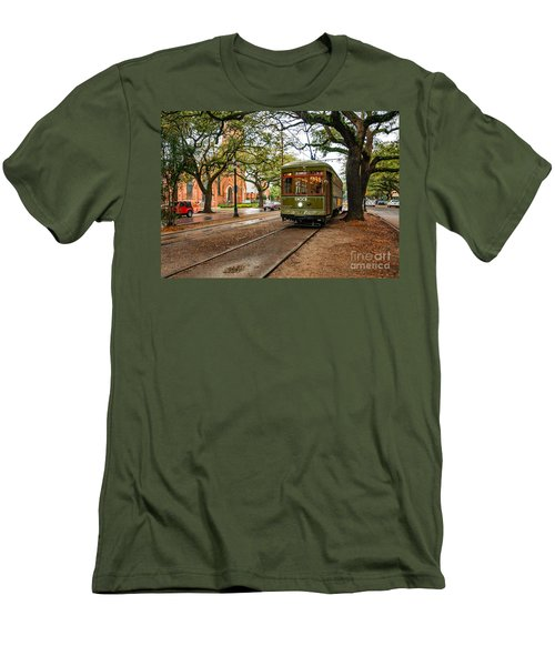 St. Charles Ave. Streetcar In New Orleans Men's T-Shirt (Athletic Fit)
