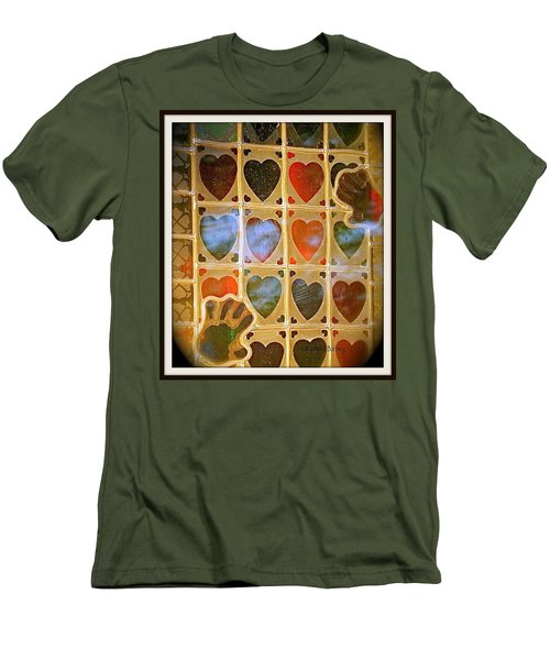 Stained Glass Hands And Hearts Men's T-Shirt (Slim Fit) by Kathy Barney