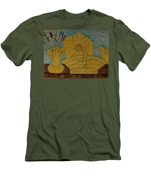 Men's T-Shirt (Slim Fit) featuring the painting Stangl Pottery Satin Yellow Pattern And Vintage Hat Pins by Kathy Marrs Chandler