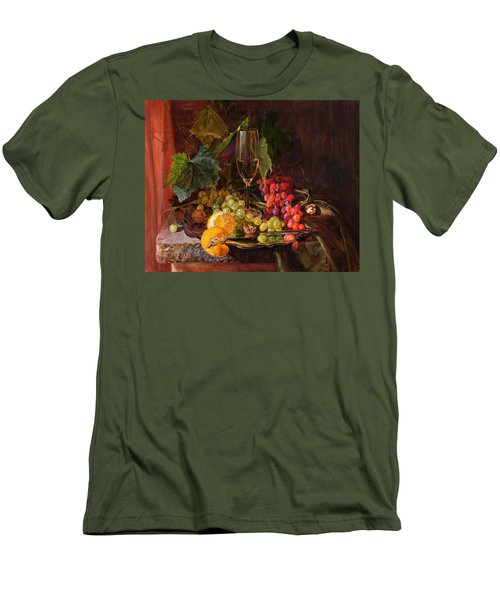 Still-life With A Glass Of Wine And Grapes Men's T-Shirt (Athletic Fit)
