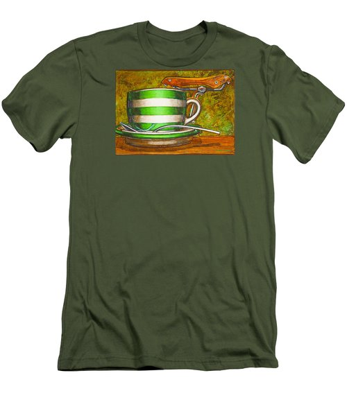 Still Life With Green Stripes And Saddle  Men's T-Shirt (Slim Fit) by Mark Jones