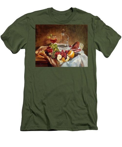 Still Life With Meat And Wine Men's T-Shirt (Athletic Fit)
