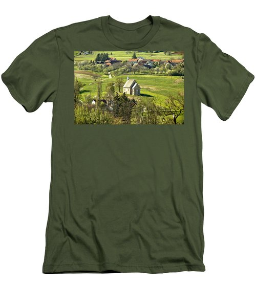 Stone Made Church In Green Nature Men's T-Shirt (Athletic Fit)