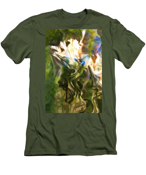 Men's T-Shirt (Slim Fit) featuring the digital art Stork In The Music Garden by Richard Thomas