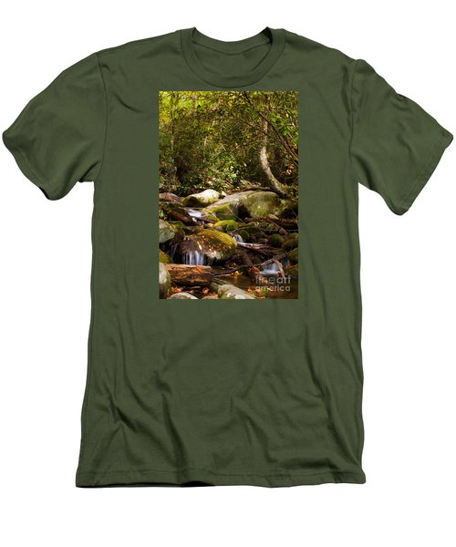 Stream At Roaring Fork Men's T-Shirt (Slim Fit) by Lena Auxier