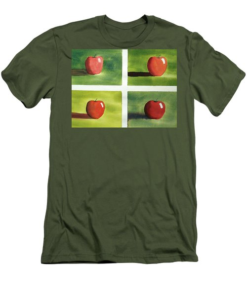 Men's T-Shirt (Slim Fit) featuring the painting Study Red And Green by Richard Faulkner