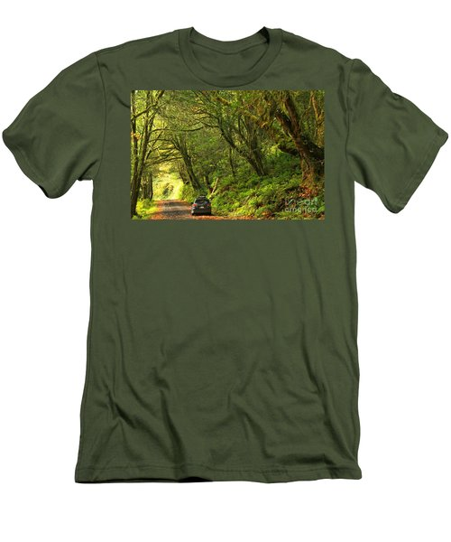 Subaru In The Rainforest Men's T-Shirt (Athletic Fit)