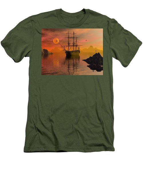 Men's T-Shirt (Slim Fit) featuring the digital art Summer Anchorage by Claude McCoy