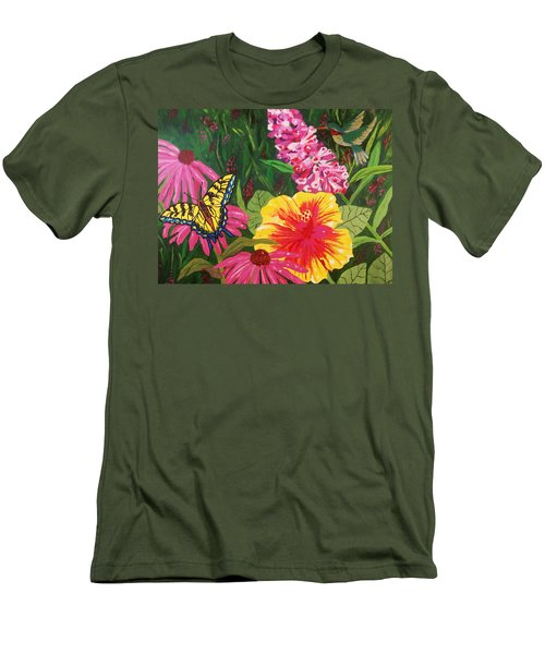 Men's T-Shirt (Slim Fit) featuring the painting Summer Garden by Ellen Levinson