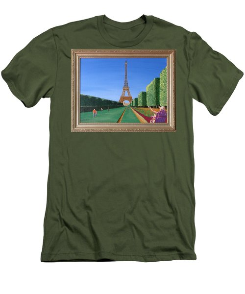 Men's T-Shirt (Slim Fit) featuring the painting Summer In Paris by Ron Davidson