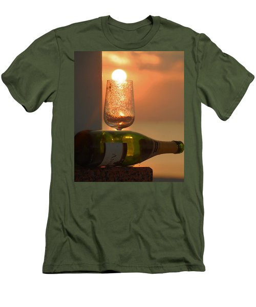 Men's T-Shirt (Slim Fit) featuring the photograph Sun In Glass by Leticia Latocki