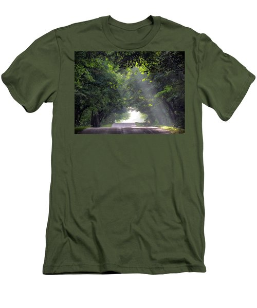 Sun Rays On Waters End Road Men's T-Shirt (Slim Fit) by David T Wilkinson